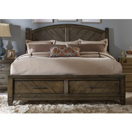 Modern Country Queen Poster Storage Bed
