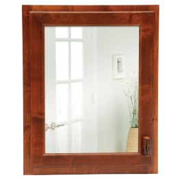 Hickory Inset Medicine Cabinet With Hinged Left