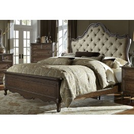 Lorraine Antique Oak Queen Upholstered Panel Bed