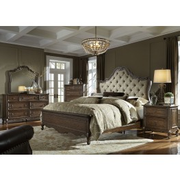 Lorraine Antique Oak Upholstered Panel Bedroom Set