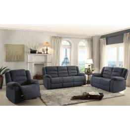 Greenville Blue Double Reclining Living Room Set