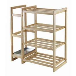 Isabel Natural Shoe Rack with Umbrella Stand and Tray