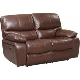 Presidential Hampstead Brown Leather Power Reclining Loveseat