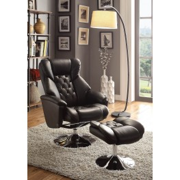 Aleron Black Swivel Reclining Chair With Ottoman