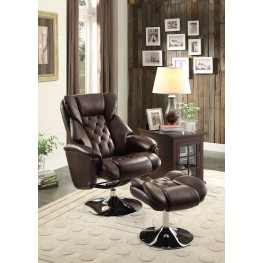 Aleron Brown Swivel Reclining Chair With Ottoman