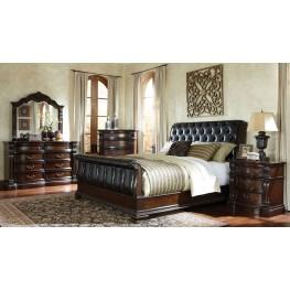 Churchill Cherry Upholstered Sleigh Bedroom Set