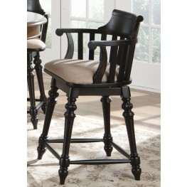 "Crystal Lakes Black 24"" Swivel Counter Chair"