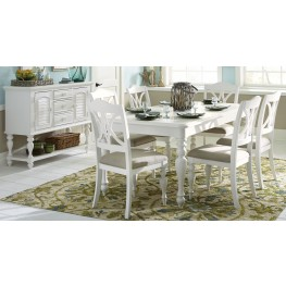 Summer House Oyster White Rectangular Leg Extendable Dining Room Set