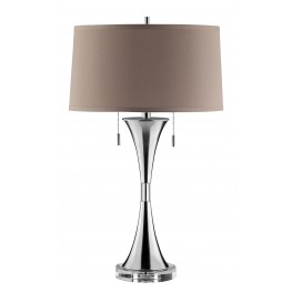 Slender Hourglass Metal & Crystal Table Lamp