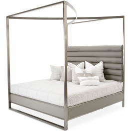 Metro Lights Midnight King Metal Canopy Bed