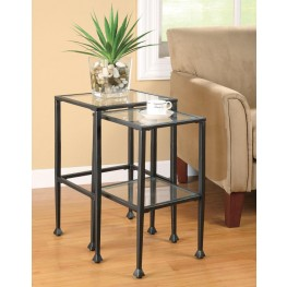Black Glass/Metal Nesting Table (L) 901073