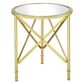 Brushed Brass Round Accent Table
