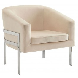 Cream Velvet Accent Chair