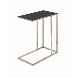 Black Glass and Chocolate Chrome Accent Table