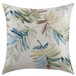 Blue And Green Watercolor Leaves Accent Pillow Set of 2