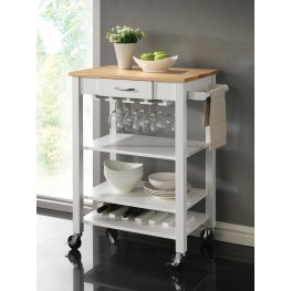 910025 White/Natural Kitchen Cart