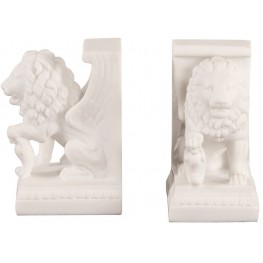 White Faux Marble Lion Bookends