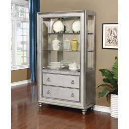 Bling Game Metallic Platinum Curio Cabinet