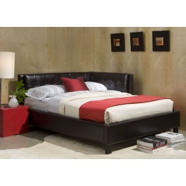 Rochester Black Twin Upholstered Corner Bed
