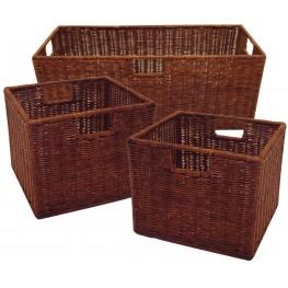Leo Antique Walnut Wired Baskets Set of 3