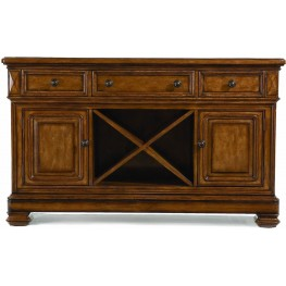 Larkspur Burnished Caramel Credenza with Marble Top