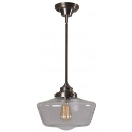 Cambridge Aged Metal With Clear Glass 1 Light Pendant
