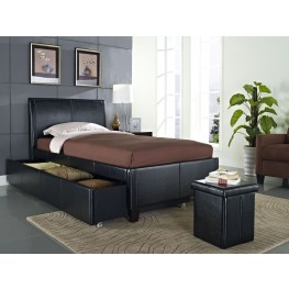 New York Black Full Upholstered Trundle Bed