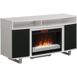 """ClassicFlame High Gloss White Enterprise Lite TV Stand with 26"""" Infrared Quartz Electric Fireplace"""