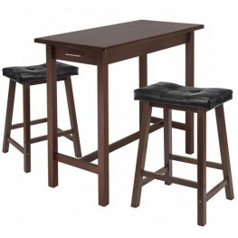Sally Antique Walnut 3 Piece Breakfast Set with 2 Saddle Seat Stools