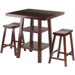 Orlando 3 Piece Walnut Counter Height Dining Set with Saddle Seat Stools