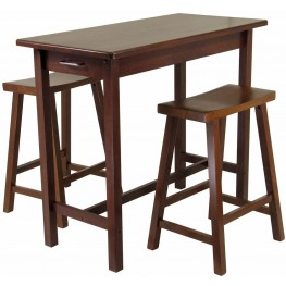 Sally Antique Walnut 3 Piece Breakfast Set with Saddle Seat Stools