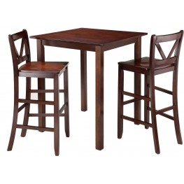 Parkland Walnut 3 Piece Counter Height Dining Set with 2 V-Back Bar Stools