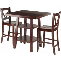 Orlando 3 Piece Walnut Counter Height Dining Set with V- Back Stools