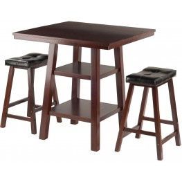 Orlando 3 Piece Walnut Counter Height Dining Set with 2 Cushion Seat Stools