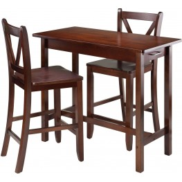 Sally Antique Walnut 3 Piece Breakfast Set with 2 V-Back Seat Stools