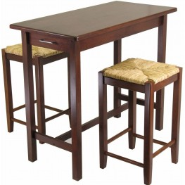 Sally Antique Walnut 3 Piece Breakfast Set with 2 Rush Seat Stools