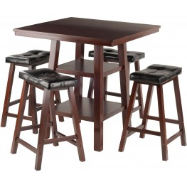 Orlando 5 Piece Walnut Counter Height Dining Set with 4 Cushion Seat Stools