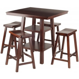 Orlando 5 Piece Walnut Counter Height Dining Set with Saddle Seat Stools