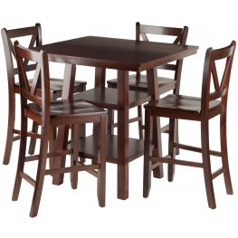 Orlando 5 Piece Walnut Counter Height Dining Set with V- Back Stools