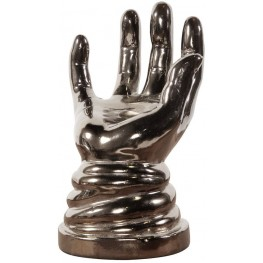 Metallic Aged Pewter Open Hand Sculpture