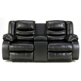 LineBacker DuraBlend Black Double Reclining Loveseat with Console