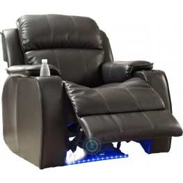 Jimmy Black Power Reclining Chair with Massage, LED & Cup Cooler