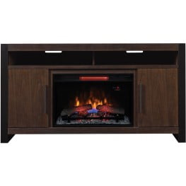 """ClassicFlame Antique Coffee Costa Mesa TV Stand with 26"""" Infrared Quartz Electric Fireplace"""
