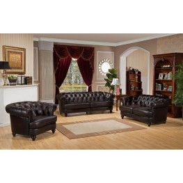 Mario Brown Leather Living Room Set