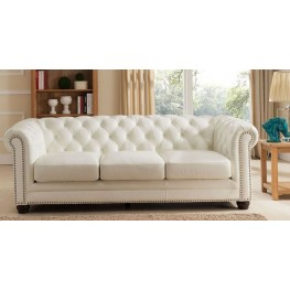 Monaco Pearl White Leather Sofa