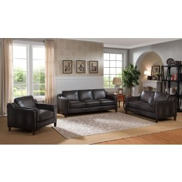 Ballari Weathered Grey Leather Living Room Set