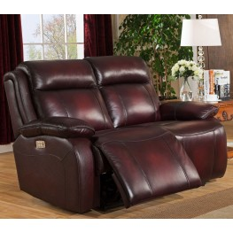Faraday Deep Red Leather Adjustable Headrest Power Reclining Loveseat