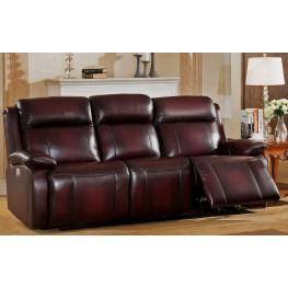 Faraday Deep Red Leather Adjustable Headrest Power Reclining Sofa