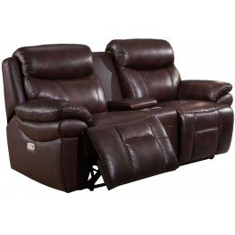 Summerlands II Brown Adjustable Headrest Power Reclining Console Loveseat