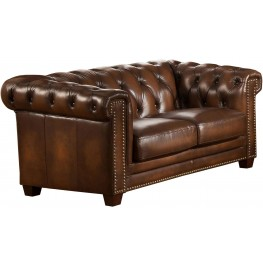 Stanley Park II Brown Leather Loveseat